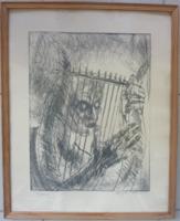 VARGA IMRE: Orfeusz (rézkarc, jelzett, kerettel, 42x51 cm)