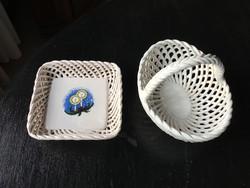 Bodrogkeresztúri kézműves kerámia kosárka és tálka karácsonyi mintával eladó