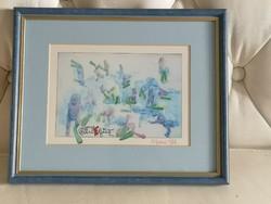Békaemberek, akvarell festmény