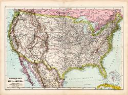 Amerikai Egyesült Államok térkép 1890, német, atlasz, eredeti, Hartleben, Amerika, észak USA, állam