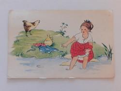 Régi képeslap 1954 vízpart tyúk kislány rajzos levelezőlap