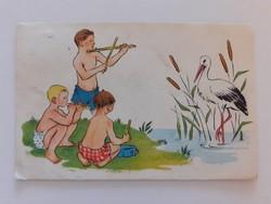 Régi képeslap 1950 körül gólya gyerekek vízpart rajzos levelezőlap