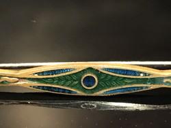 Szecessziós tűzzomànc bross vagy sáltű, 6,5 cm hosszú