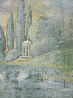 Idilli vízparti tájkép hattyúkkal (olaj, vászon, jelzett)