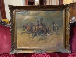 Viski János: Lovas festmény