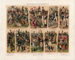 Katonaság II., színes nyomat 1908, német nyelvű, litográfia, katona, uniformis, hadtörténet, háború