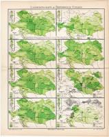 Osztrák - Magyar Monarchia mezőgazdasági térképek 1908, német nyelvű, eredeti,, térkép, bor, árpa