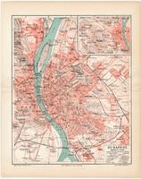 Budapest térkép 1902, német nyelvű, eredeti, Magyarország, főváros, Meyers lexikon, régi