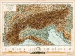 Alpok hegy- és vízrajzi térkép 1890, német, atlasz, eredeti, Hartleben, Európa, hegység, régi