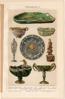 Ékkő, műtárgy II, színes nyomat 1908, német nyelvű, eredeti, litográfia, nefrit, jáde, hegyikristály
