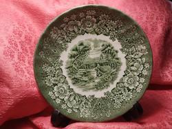 Jelenetes angol porcelán kistányér, csészealj