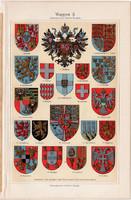 Címerek II., színes nyomat 1908, német nyelvű, eredeti, litográfia, címer, európai országok, spanyol