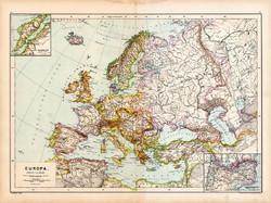 Európa politikai térkép 1890, német, atlasz, eredeti, Hartleben, monarchia, kontinens, régi