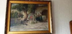 Hatalmas Ács Ágoston antik festmény