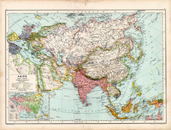 Ázsia politikai térkép 1890, német, atlasz, eredeti, Hartleben, Kína, India, Japán, Tibet, Indokína