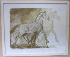 KOVÁCS KÁLMÁN: A ló (allegória), zseniális litográfia 1999-ből, jelzett, 57x47 cm