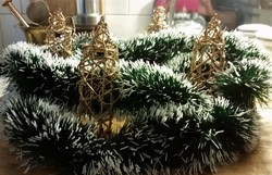 Vesszőből font karácsonyfadísz vagy díszgyertya koszorúra