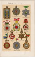 Kitüntetés, rendjel III., színes nyomat 1908, német nyelvű, eredeti, litográfia, Ázsia, Japán, Sziám