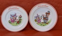 Zsolnay porcelán  Erdőkapitánya, figurás, lapos és sütistányérok ,tányér ,nosztalgia darab Alexandra