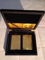 2 db, választható 24 kt arany vagy  99,9 % ezüst póker kártya díszdobozban, bankjegy hátlappal