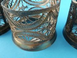 Orosz stílusú ezüstözött pohártartó