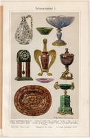 Ékkő, műtárgy I., színes nyomat 1908, német nyelvű, eredeti, litográfia, nefrit, achát, ametiszt