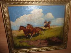Csillag István: Vágtató lovak csikóssal (olajfestmény kerettel, 58x48 cm)