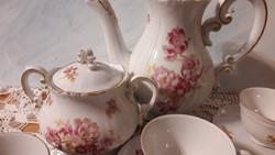 Zsolnay kávés készlet, gyönyörű, ritka virágmintákkal, hiányos
