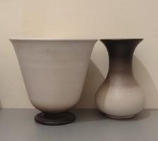 Jelzett, 2 db-os, kerámia virágtartó garnitúra (kaspó + váza) eladó
