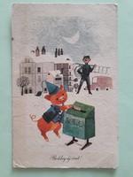 Régi újévi képeslap szerencsemalac lottó kéményseprő rajzos levelezőlap