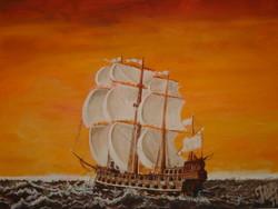 Hajós festmény olajfestmény 2011. vitorlás csatahajó tenger Harry Grace A dieu 1687