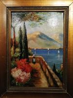 Garda-tó a teraszról, magyar festő