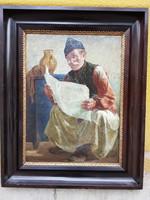 Friss újságot olvasó paraszt ember olaj, vászon festmény