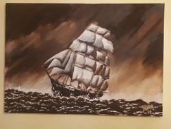 Hajós festmény olajfestmény 2011. vitorlás csatahajó tenger Ariel 1515