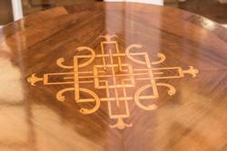 Asztal felújított, kerek asztallap