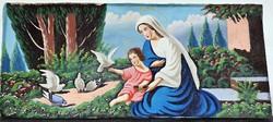135x70cm. Szűz Mária , kis Jézussal, hatalmas szentkép, olajfestmény.