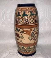 Extrém ritka KISPEST (GRÁNIT) kerámia váza, szarvasos, 29 cm.