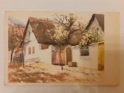 Régi képeslap 1954 utcakép litográfia levelezőlap