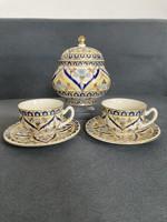 Zsolnay perzsa mintás kávéscsésze pár és bonbonier