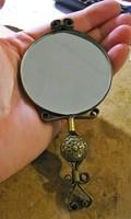 Nagyon régi, szép mintázatú réz kézitükör / tükör 12,5 cm