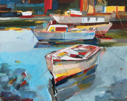 Csónakok - akrilfestmény