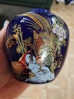 Fácános dúsan aranyozott meseszép kis porcelán váza