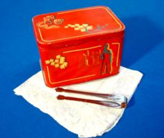 RETRO kockacukros pléhdoboz a '40-es évekből (nagyon ritka)