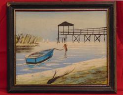 'Kék csónak a tavon' - Szép olaj-farost alkotás hozzáillő keretben a 70-80-as évekből