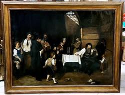 MUNKÁCSY MIHÁLY ( 1844-1900 ) UTÁN ... SIRALOMHÁZ , HATALMAS PAZAR FESTMÉNY !  MUNKÁCSY KORÁBÓL !!!