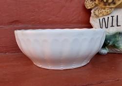 Gránit fehér tál, nosztalgia darab, paraszti dekoráció, 22.5 cm-es