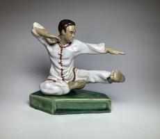 Ritka, vintage kerámia kung fu mester figura szobor