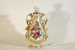 35cm Antik Cseh Porcelán Asztali Lámpa Festett Aranyozott Virágos Dekorral Díszítéssel