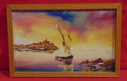 'Vitorlás a tengeren' - Szépen, jó színekkel megfestett olajkép keretezve /70-80-as évek/
