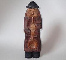 Nagy méretű régi népi fa faragás festett fafaragás faragott figura szobor ember